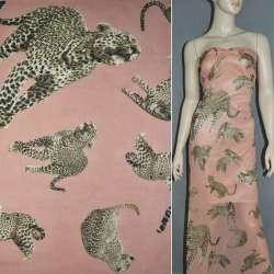 Шифон диллон коралловый светлый с леопардами ш.150