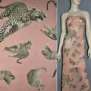 Шифон диллон светло коралловый с леопардами ш.150
