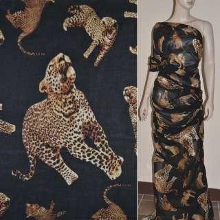 Шифон диллон черный с леопардами ш.150