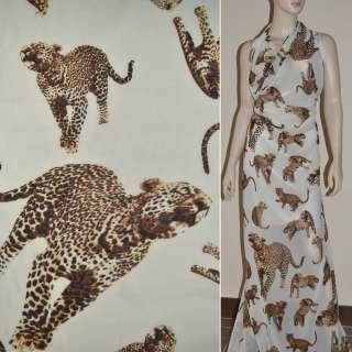 Шифон диллон ванильный с леопардами ш.150