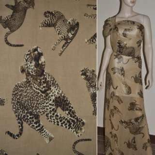 Шифон диллон темно бежевый с леопардами ш.150