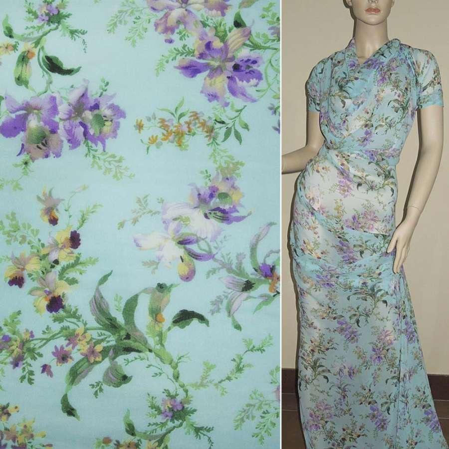 Шифон* диллон голубой с фиолетово-зелеными цветами ш.150