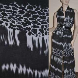 Шифон Діллон чорно-білий принт леопард ш.150