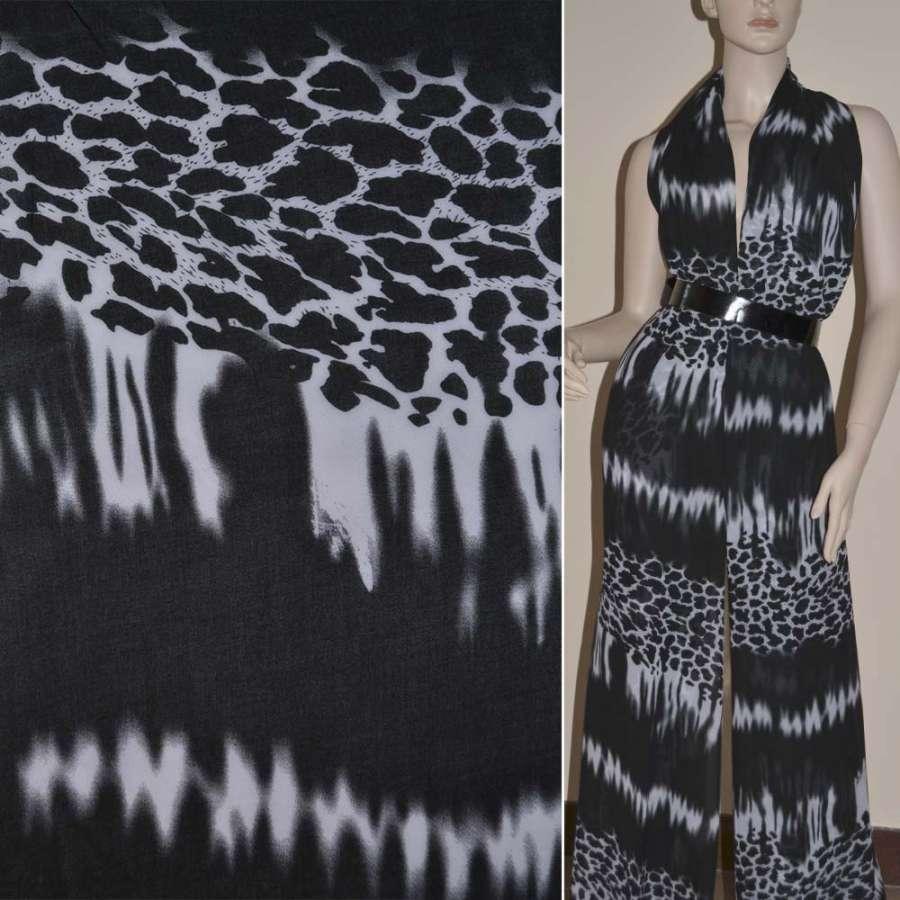 Шифон диллон черно-белый принт леопард ш.150