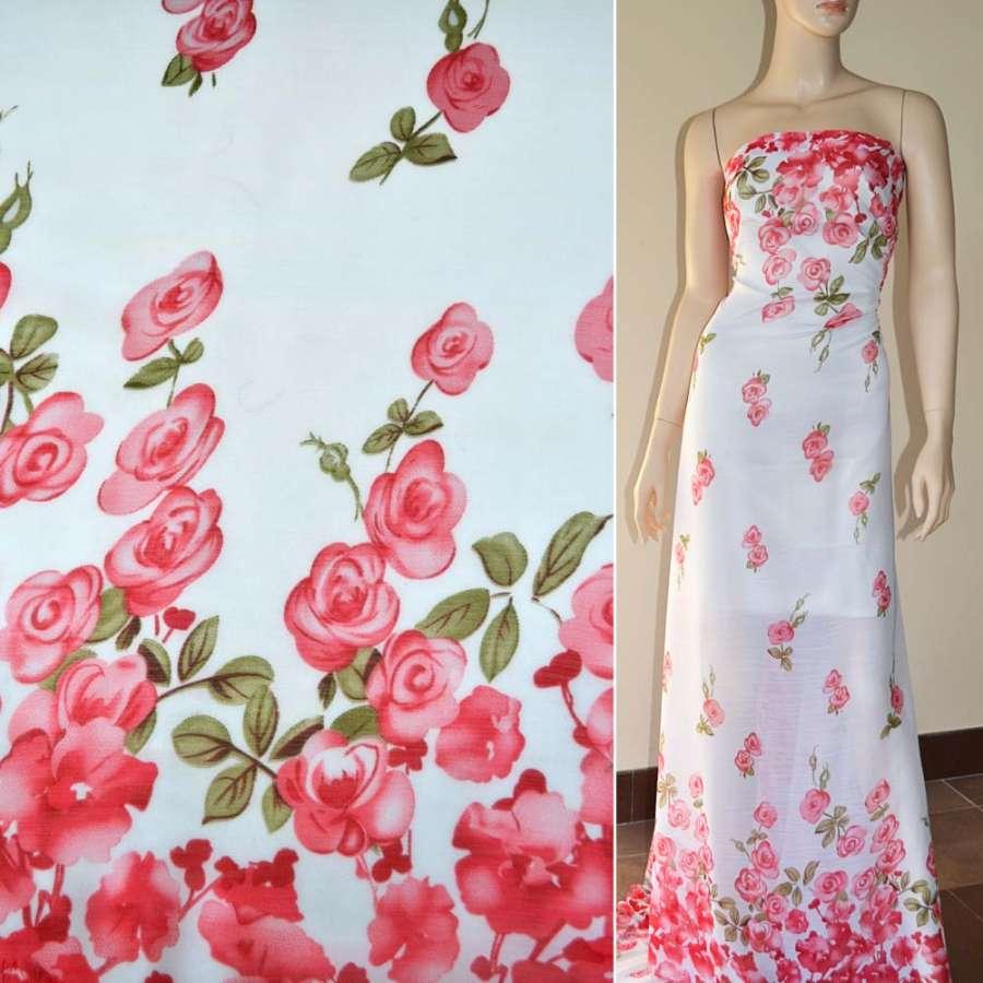 Шифон жатый белый, 2-ст. купон алые розы ш.150