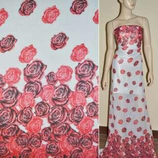 Шифон жатий білий, 2-ст. купон червоні троянди ш.150