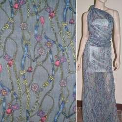 Шифон жатый серый с сине-желтыми поясами цепями цветами ш.150