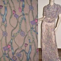 Шифон жатый розово-коричневый с фиолетово-бежевыми поясами и цветами ш.150