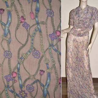 Шифон жатий рожево-коричневий з фіолетово-бежевими поясами і квітами ш.150