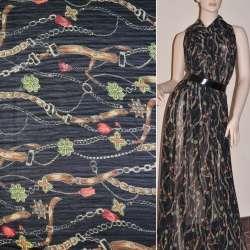 Шифон жатый черный с бежево-коричневыми поясами и цветами ш.150