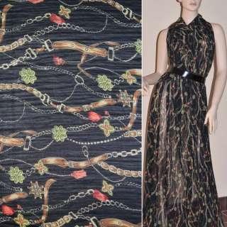 Шифон жатий чорний з бежево-коричневими поясами і квітами ш.150