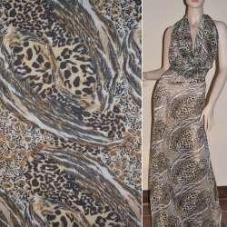 Шифон жатый бежево-коричневый с тигровым рисунком ш.150