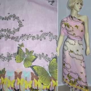 Шифон жатий рожево-білий, 2-ст. купон в метелики ш.150