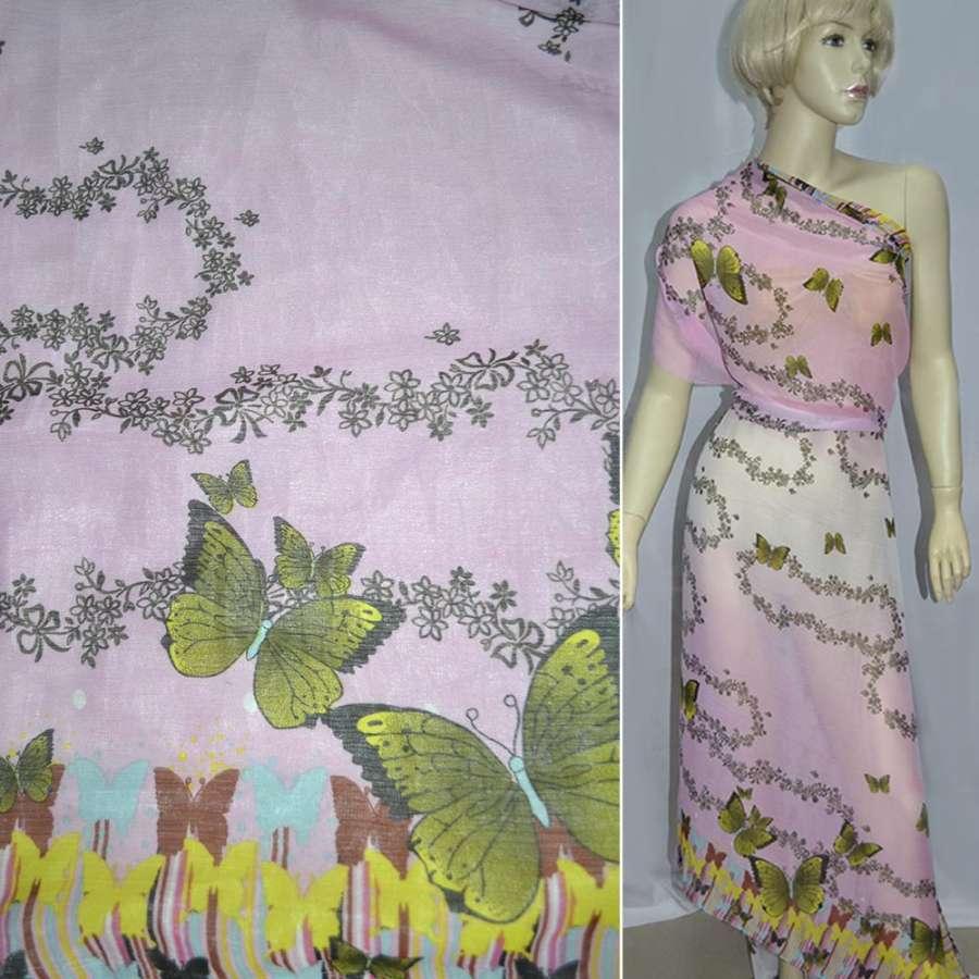 Шифон жатый розово-белый, 2-ст. купон в бабочки ш.150