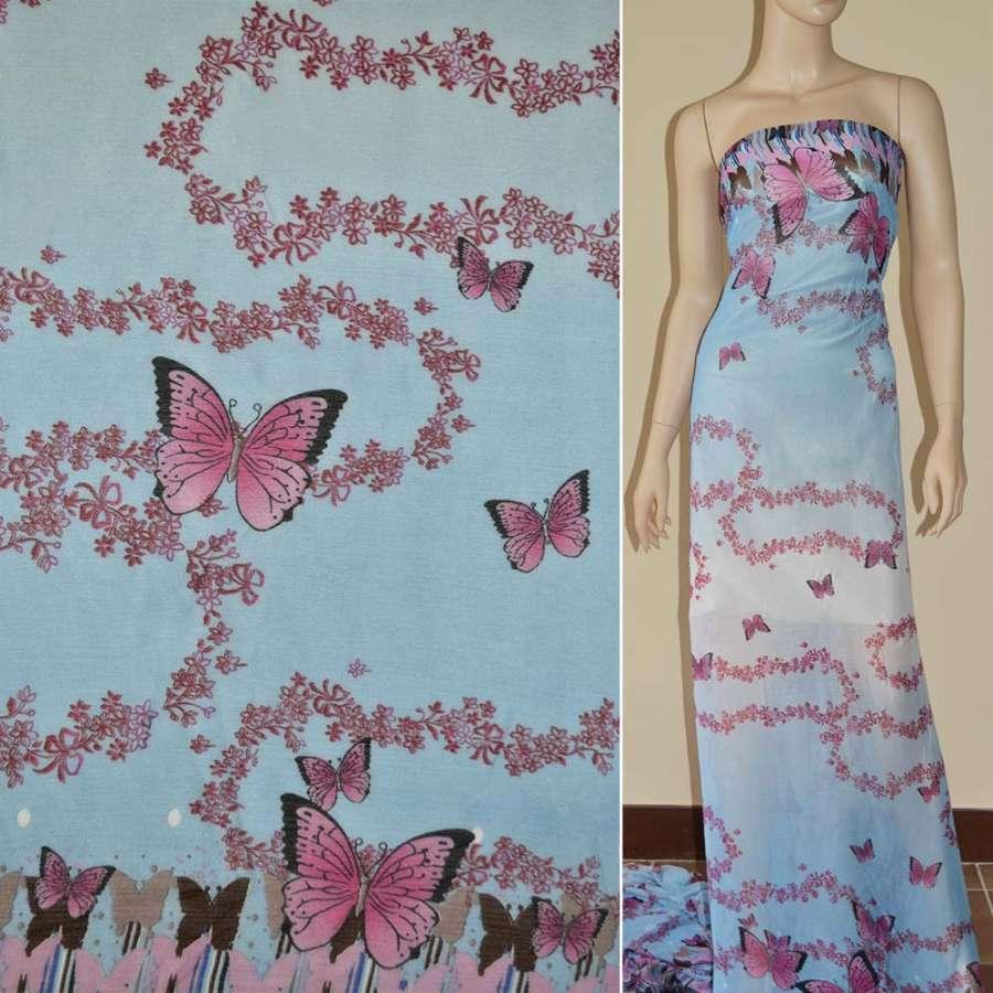Шифон жатый бледно-голубой в белый 2-ст. купон с розами и бабочкам
