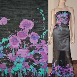 Шифон жатий чорний, 2-ст. купон бирюзово-бузкові квіти ш.150