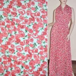 Шифон жатый белый с красными розами ш.150