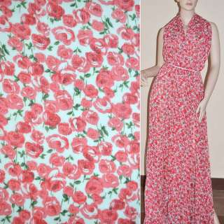 Шифон жатий білий з червоними трояндами ш.150