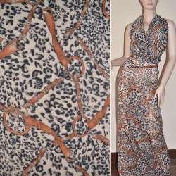 Шифон жатый светло-бежевый принт леопард с коричневыми ремнями ш.150