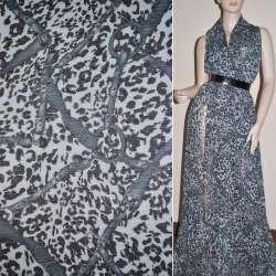 Шифон жатый светло-серый принт леопард с ремнями ш.150