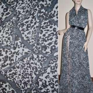 Шифон жатий світло-сірий принт леопард з ременями ш.150