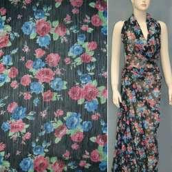 Шифон жатый черный с бордово-синими букетами цветов ш.150