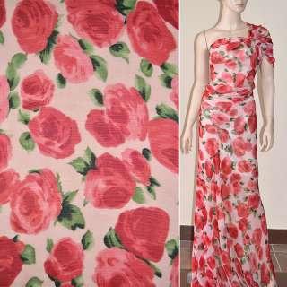 Шифон жатий блідо-рожевий з червоними квітами ш.150