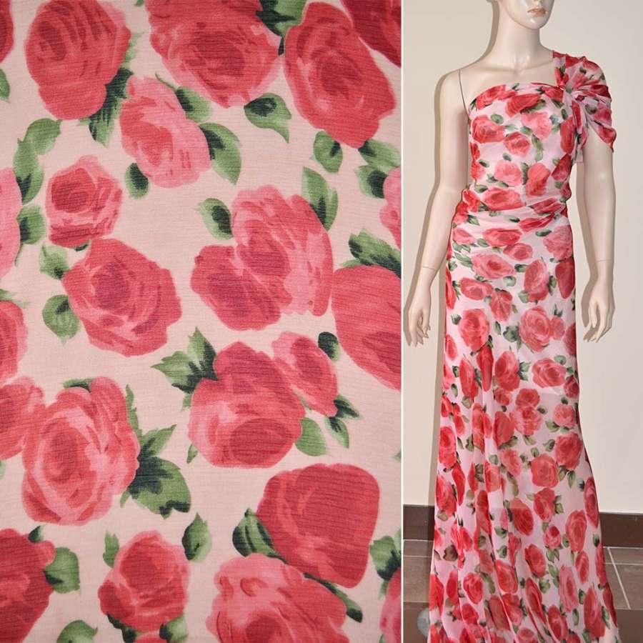 Шифон жатый бледно-розовый с красными цветами ш.150