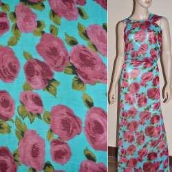 Шифон жатый голубой, с светло-бордовыми розами ш.150