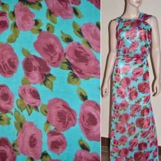 Шифон жатий блакитний, з світло-бордовими трояндами ш.150