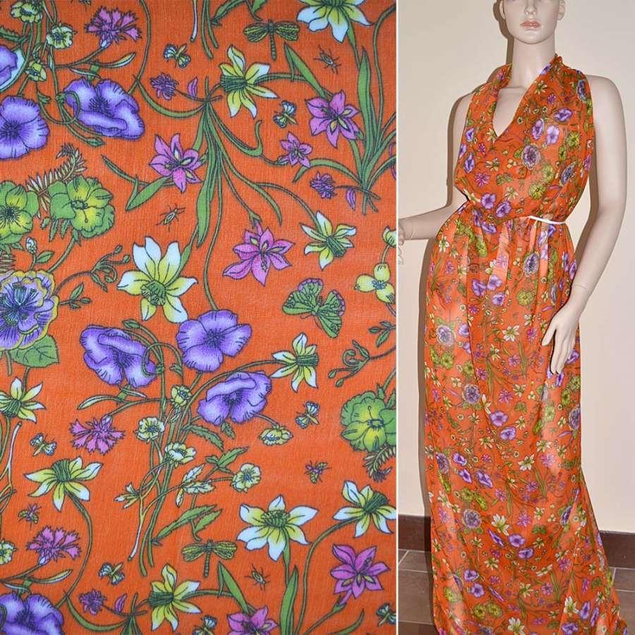 Шифон жатый оранжево-красный с фиолетово-зелеными цветами и бабочками
