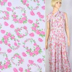 Креп-шифон білий в рожеві троянди ш.142