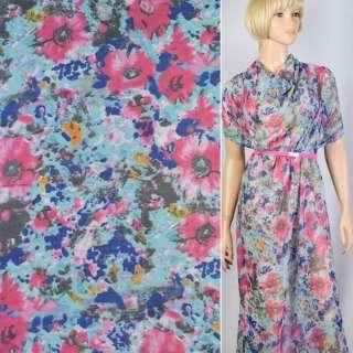 Креп-шифон синій в рожеві, сірі квіти ш.148