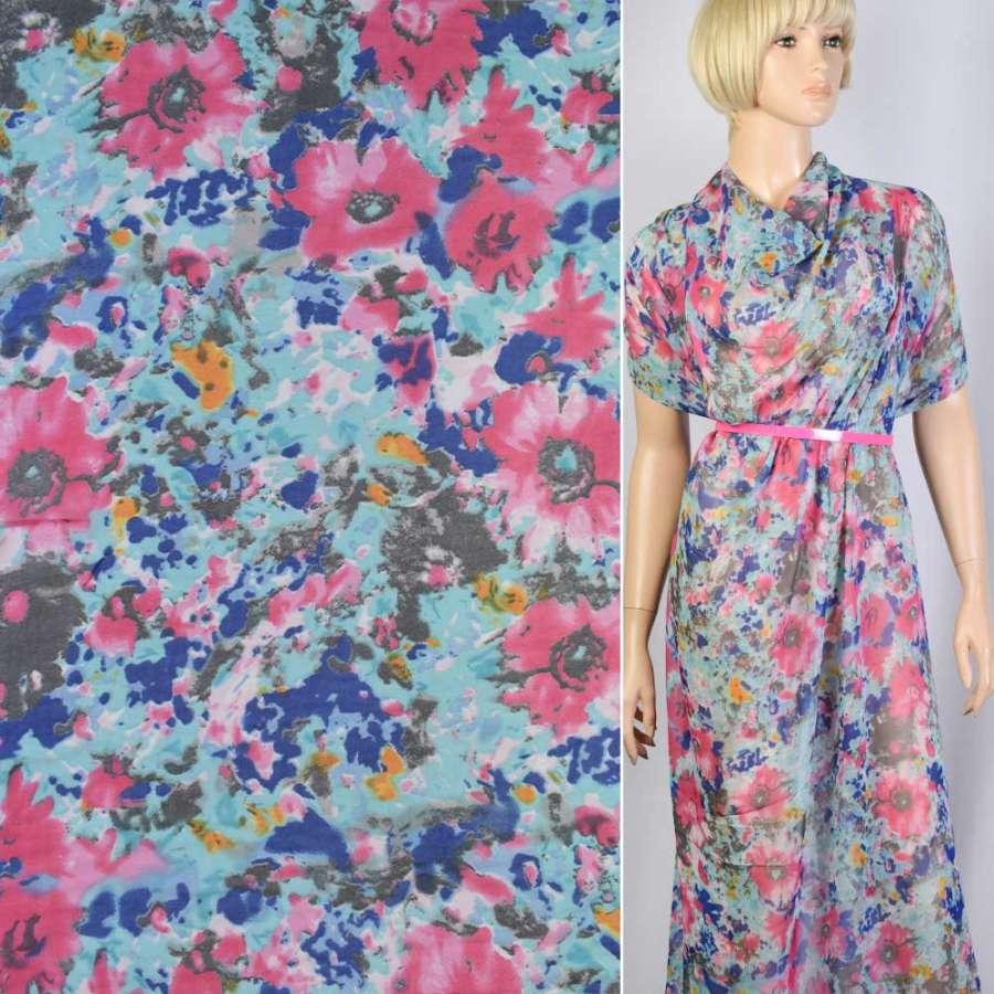 Креп-шифон синий в розовые, серые цветы ш.148