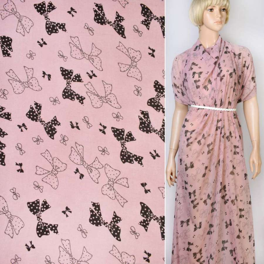 Креп-шифон розовый в черный бантики ш.145