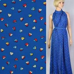 Креп-шифон синій в кольорові сердечка ш.150