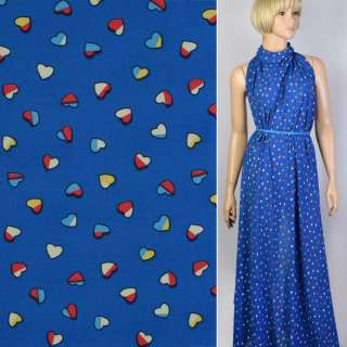 Креп-шифон синий в цветные сердечки ш.150