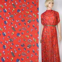 Креп-шифон красный в разноцветные грибы ш.148