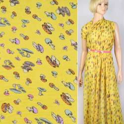 Креп-шифон желтый в разноцветные грибы ш.150
