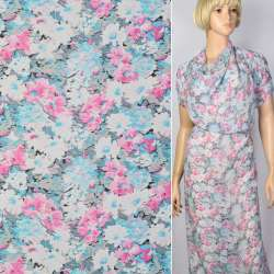 Креп-шифон в рожево-блакитні квіти ш.150