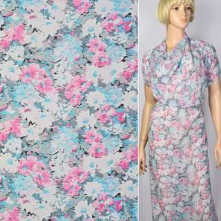 Креп шифон в розово-голубые цветы ш.150