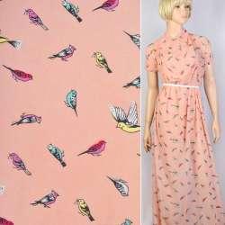Креп-шифон персиковый в желтые и розовые птички ш.150