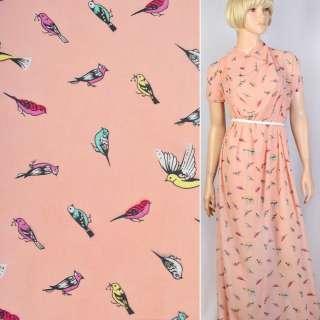 Креп шифон персиковый в  желтые и розовые птички ш.150