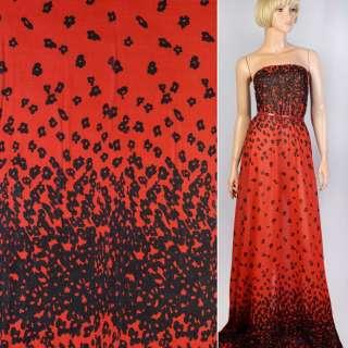 Креп шифон красный в черные цветы ш.150