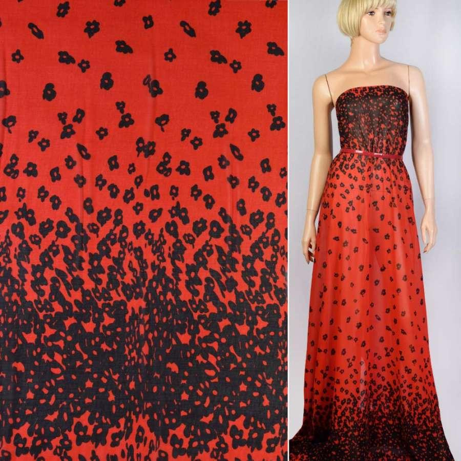 Креп-шифон красный в черные цветы ш.150
