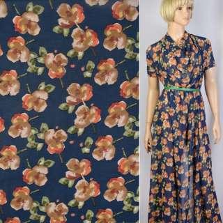 Креп шифон синий в оранжево-бежевые цветы ш.148