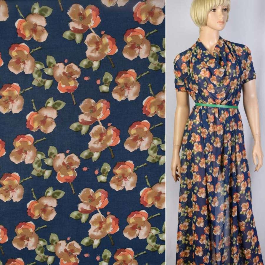 Креп-шифон синий в оранжево-бежевые цветы ш.148