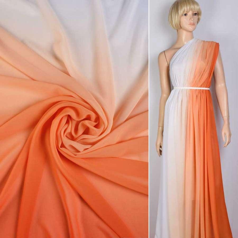Креп-шифон бело-оранжевый радуга ш.145