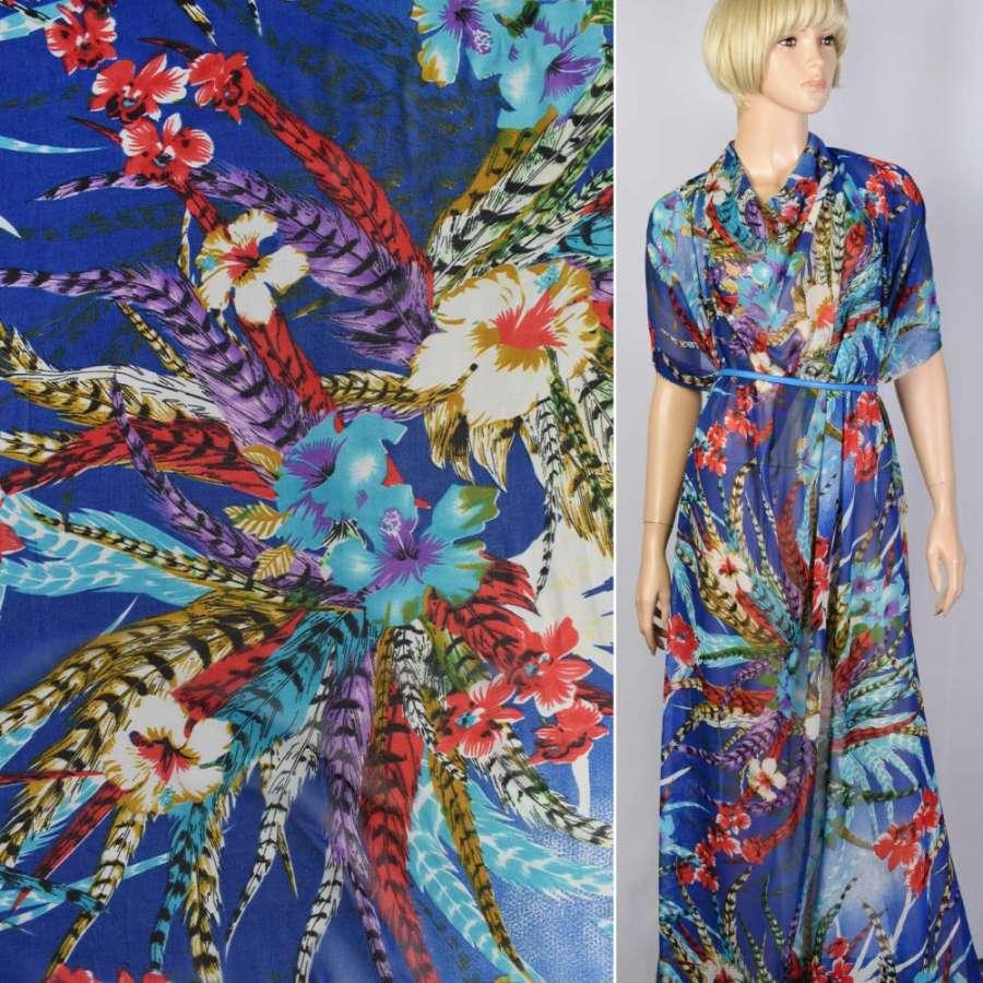 Креп-шифон синий в цветы и перья (купон) ш.150