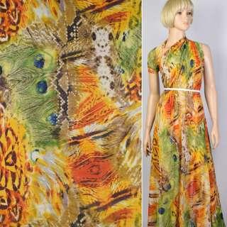Креп шифон оранжевый в павлиньи перья (купон) ш.150